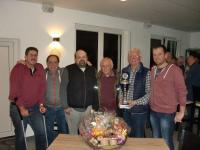 Sieger 2019 & Organisatoren: Helmut Hopf & Jochen Briese, Andreas Wagner (3. Pl.), Peter Reitz (2. Pl.), Sieger Edgar Haas, Abteilungsleiter AH Andreas Pfeiffer